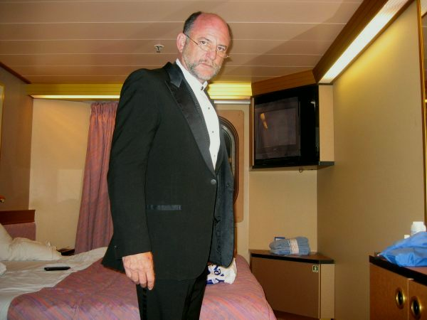 In  Stateroom - More Studious? - Notice how my Steward (Marco) turned down the bed!!